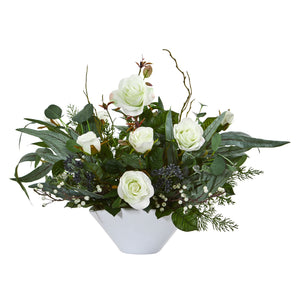 "16"" Rose and Eucalyptus Artificial Arrangement in Vase - White"