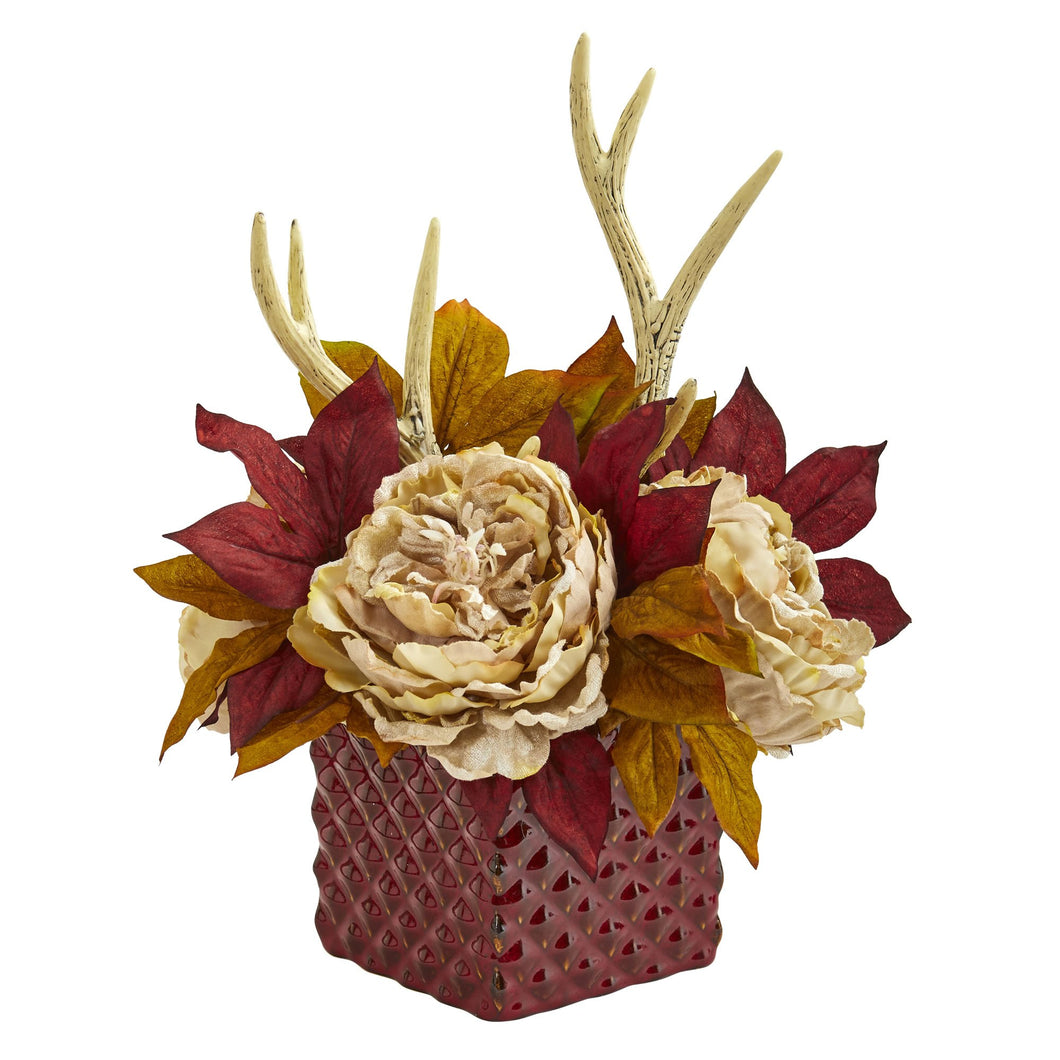 Peony and Antlers Artificial Arrangement in Red Vase - Cream