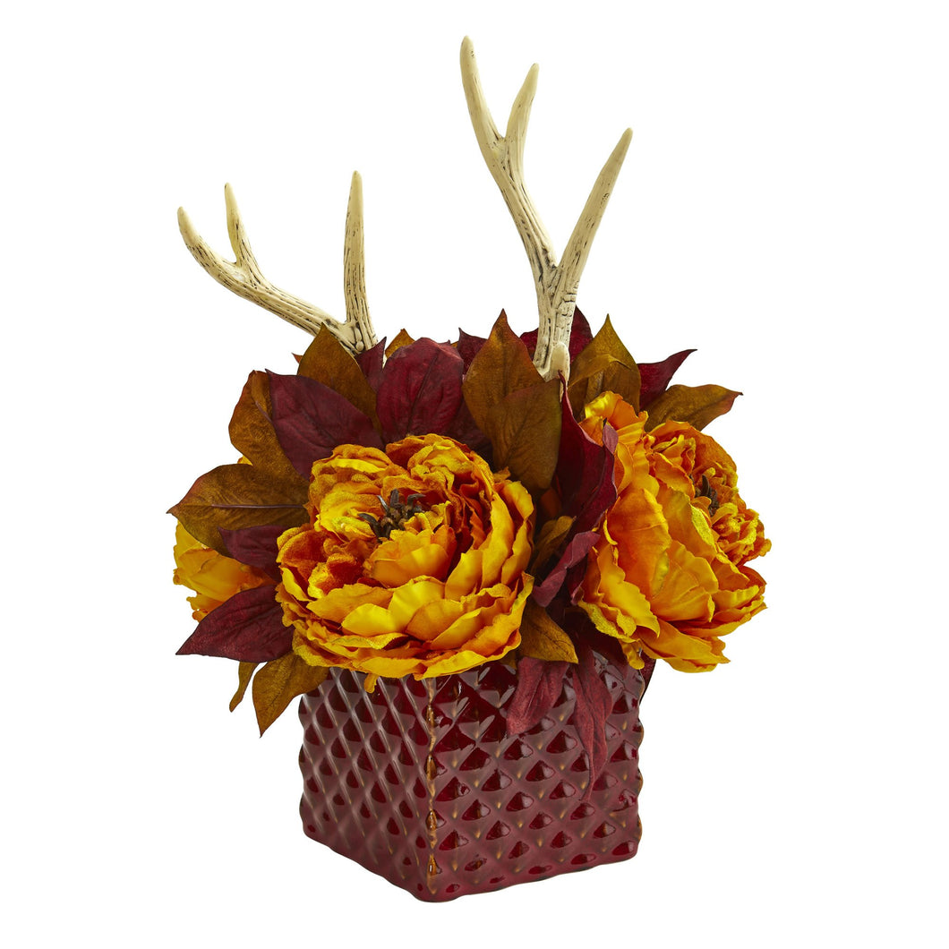 Peony and Antlers Artificial Arrangement in Red Vase - Yellow
