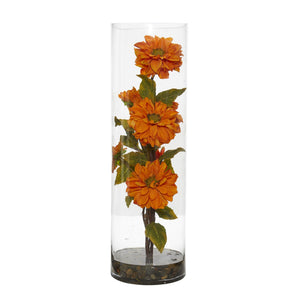 Zinnia Artificial Arrangement in Cylinder Vase - Orange