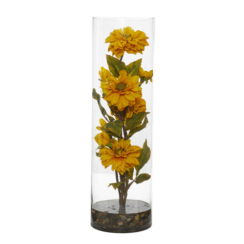 Zinnia Artificial Arrangement in Cylinder Vase - Yellow