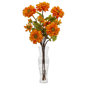 Zinnia Artificial Arrangement - Orange