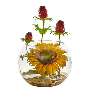 Sunflower and Thistle Artificial Arrangement