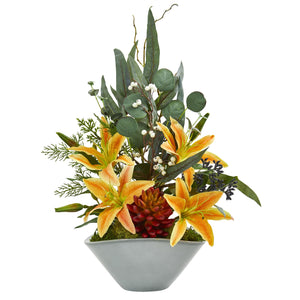 "22"" Lilies, Succulent and Eucalyptus Artificial Arrangement"