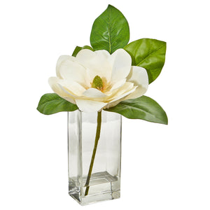 Large Magnolia Artificial Arrangement in Glass Vase
