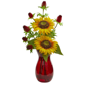 Sunflower and Thistle Artificial Arrangement in Red Vase