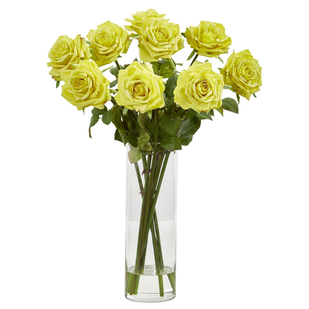 Rose Artificial Arrangement in Cylinder Vase - Yellow