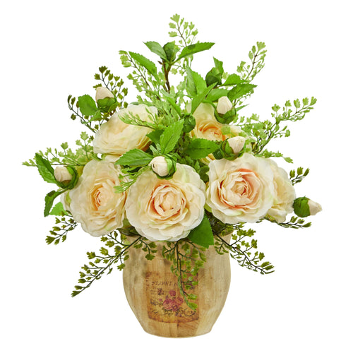 Camellia and Maiden Hair Artificial Arrangement - Peach