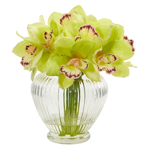 Cymbidium Orchid Artificial Arrangement in Glass Vase - Green