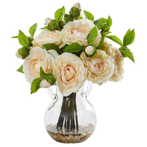 Camellia Artificial Arrangement in Vase - Peach