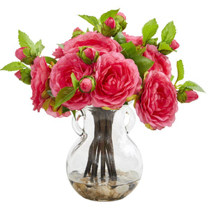 Camellia Artificial Arrangement in Vase - Pink