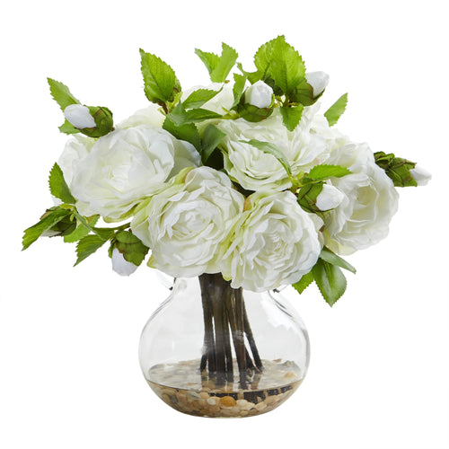 Camellia Artificial Arrangement in Vase - White