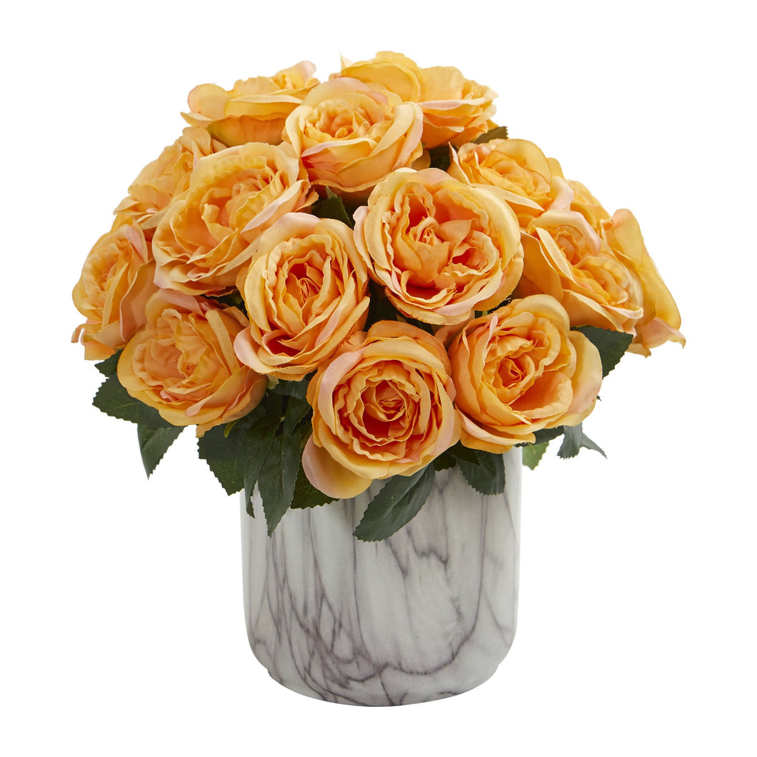 Rose Artificial Arrangement In Marble Finish Vase Yellow Timeless Leaves