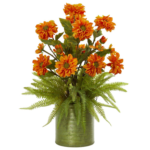 Zinnia and Fern Artificial Arrangement in Metal Planter - Orange