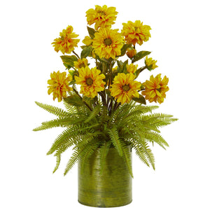 Zinnia and Fern Artificial Arrangement in Metal Planter - Yellow
