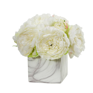 Peony Artificial Arrangement in Marble Finished Vase - White