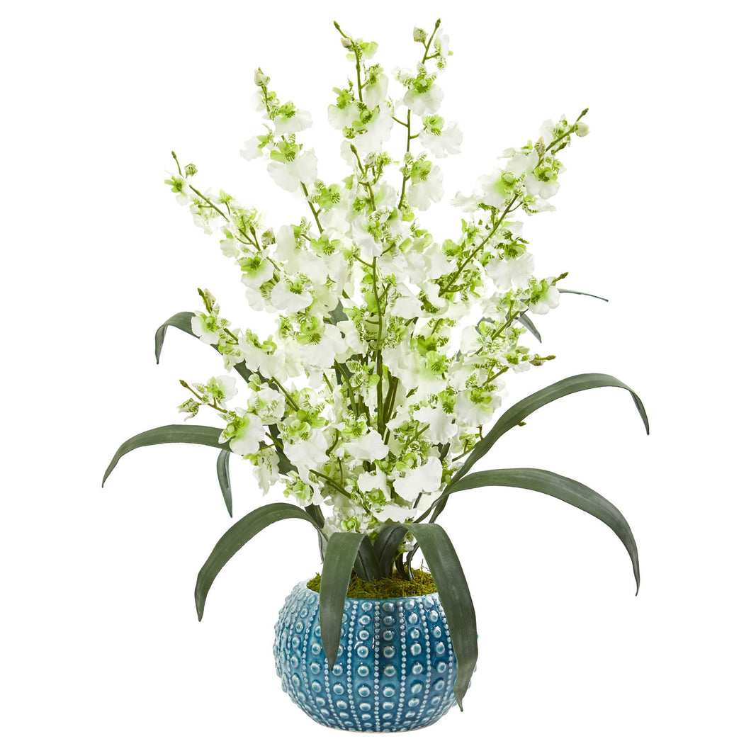 Dancing Lady Orchid Artificial Arrangement in Blue Vase - Green