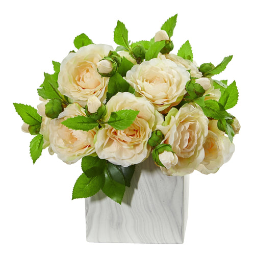 Camellia Artificial Arrangement in Marble Finished Vase - Peach