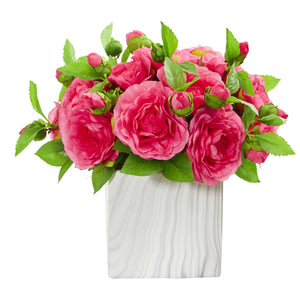 Camellia Artificial Arrangement in Marble Finished Vase - Pink
