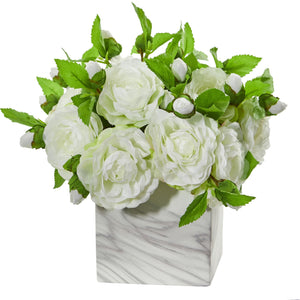 Camellia Artificial Arrangement in Marble Finished Vase - White