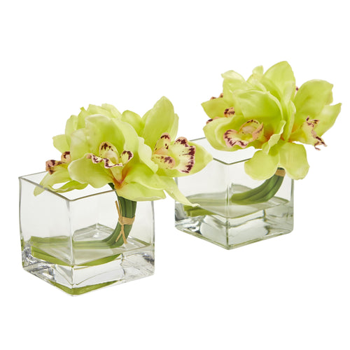 Cymbidium Orchid Artificial Arrangement in Glass Vase (Set of 2) - Green