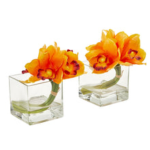 Load image into Gallery viewer, Cymbidium Orchid Artificial Arrangement in Glass Vase (Set of 2) - Orange