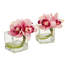 Load image into Gallery viewer, Cymbidium Orchid Artificial Arrangement in Glass Vase (Set of 2) - Pink