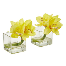 Load image into Gallery viewer, Cymbidium Orchid Artificial Arrangement in Glass Vase (Set of 2) - Yellow