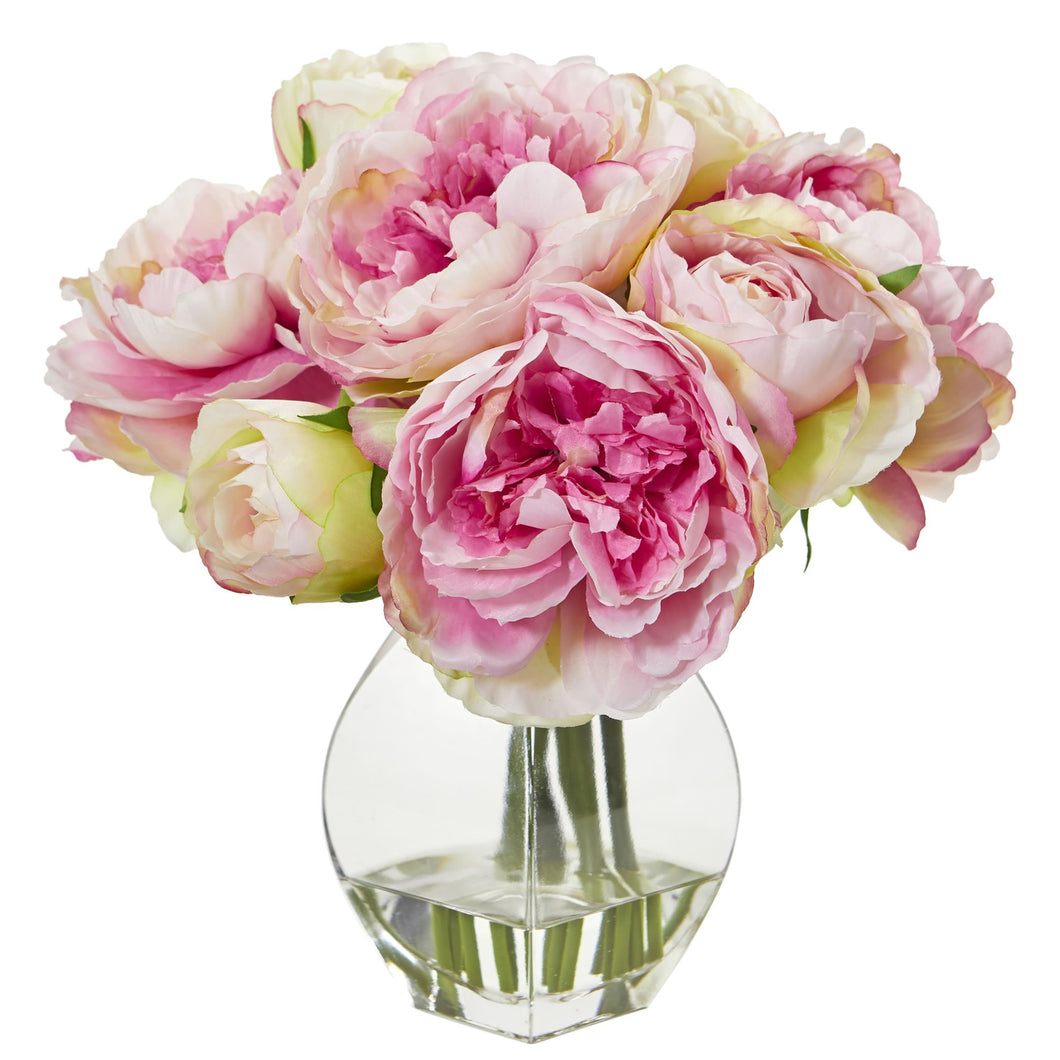 Peony Artificial Arrangement in Vase - Pink