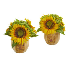Load image into Gallery viewer, Sunflower Artificial Arrangement in Decorative Planter (Set of 2)