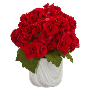 Begonia Artificial Arrangement in Vase - Red