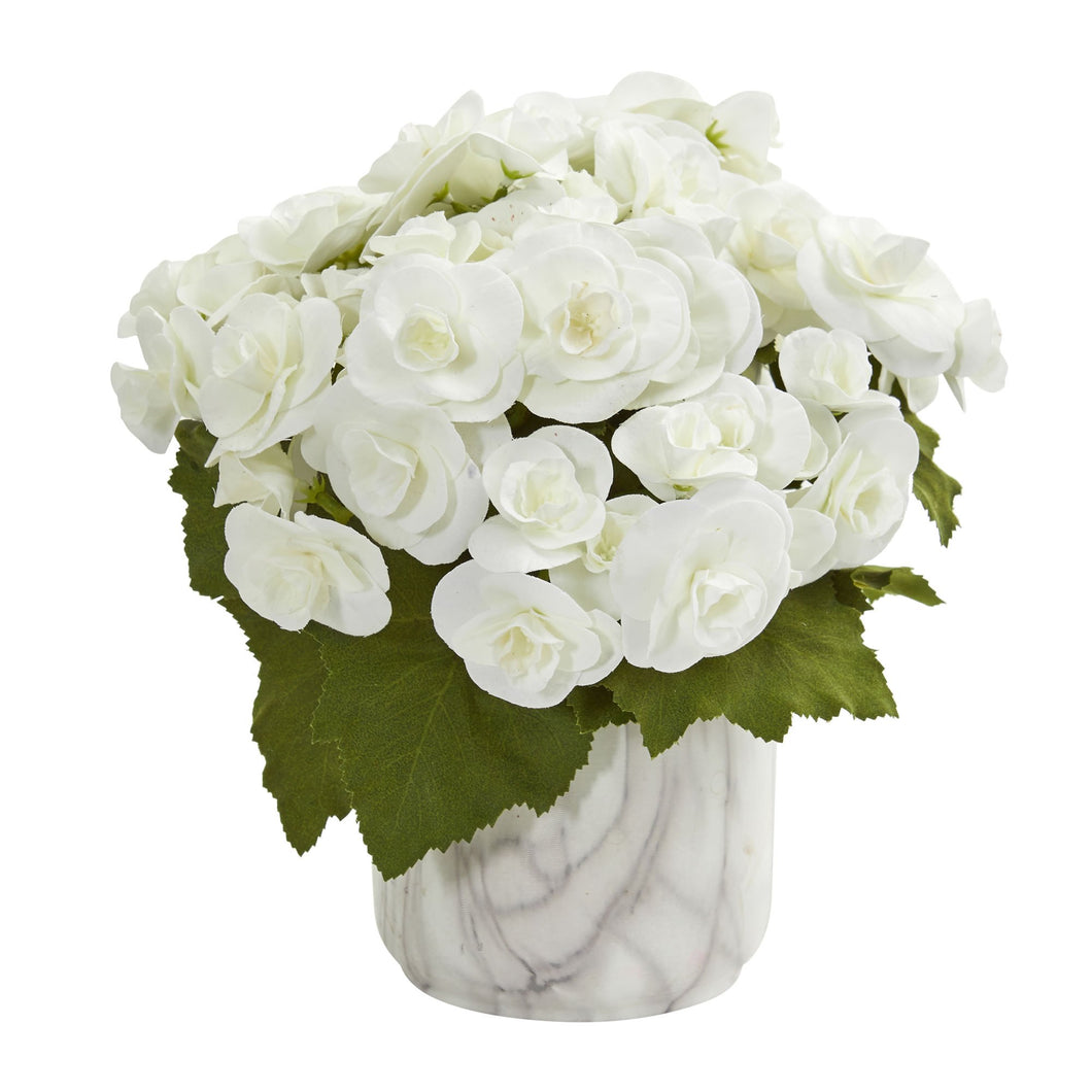 Begonia Artificial Arrangement in Vase - White