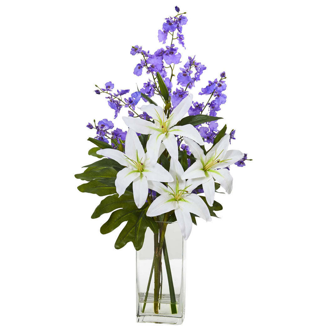 Lily and Dancing Lady Orchid Artificial Arrangement - White Purple