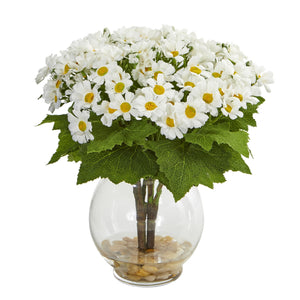 Daisy Artificial Arrangement in Fluted Vase - White