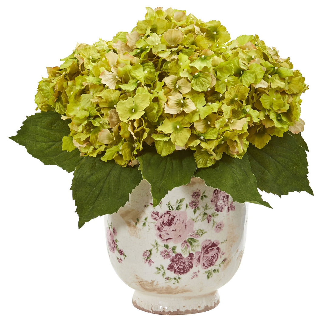 Giant Hydrangea Artificial Arrangement in Floral Printed Vase - Green