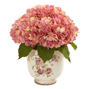 Giant Hydrangea Artificial Arrangement in Floral Printed Vase - Pink