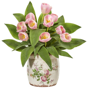 Tulip Artificial Arrangement in Floral Design Vase