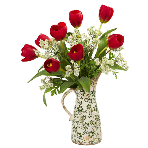 Tulips and Italian Chrysanthemum Artificial Arrangement in Pitcher Vase