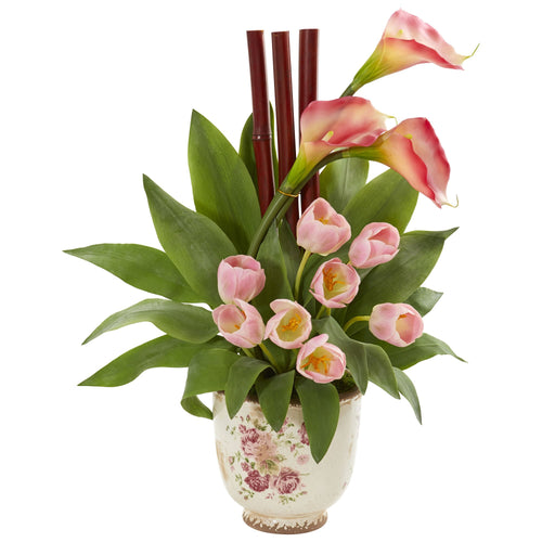 Tulips and Calla Lilly Artificial Arrangement in Floral Vase