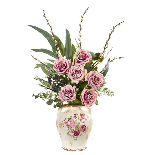 Rose, Eucalyptus and Pussy Willow Artificial Arrangement in Floral Print Vase