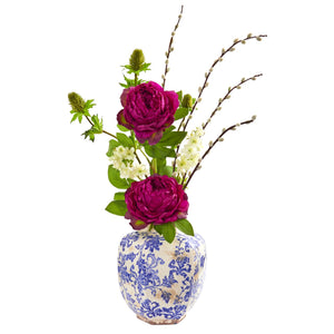 Peony, Thistle and Dancing Daisy Artificial Arrangement