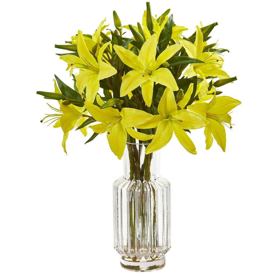 Lilly Artificial Arrangement in Glass Vase - Yellow