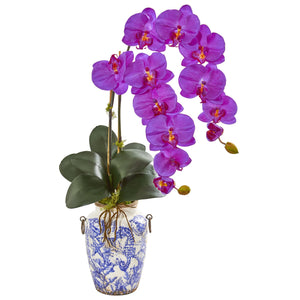 "31"" Phalaenopsis Orchid Artificial Arrangement in Weathered Ocean Vase - Orchid"