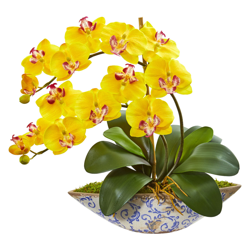 Phalaenopsis Orchid Artificial Arrangement in Vase