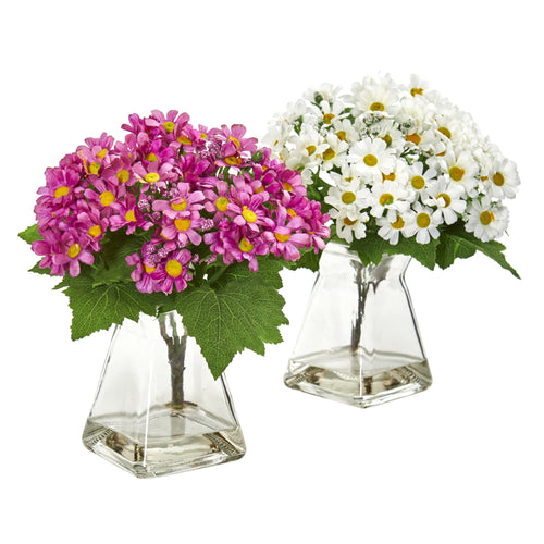 Daisy Artificial Arrangement in Vase (Set of 2) - White Mauve