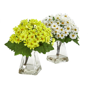 Daisy Artificial Arrangement in Vase (Set of 2) - White Yellow