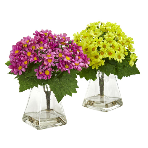 Daisy Artificial Arrangement in Vase (Set of 2) - Yellow Mauve