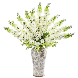 "38"" Delphinium Artificial Arrangement in Decorative Vase - White"