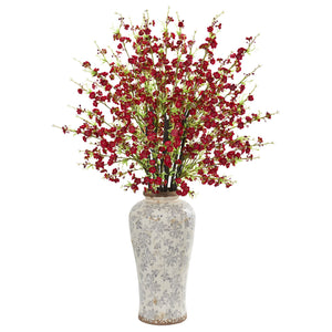 "37"" Cherry Blossom Artificial Arrangement in Decorative Vase - Red"