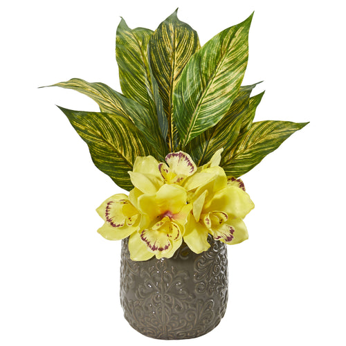 Cymbidium Orchid and Musa Leaf Artificial Arrangement